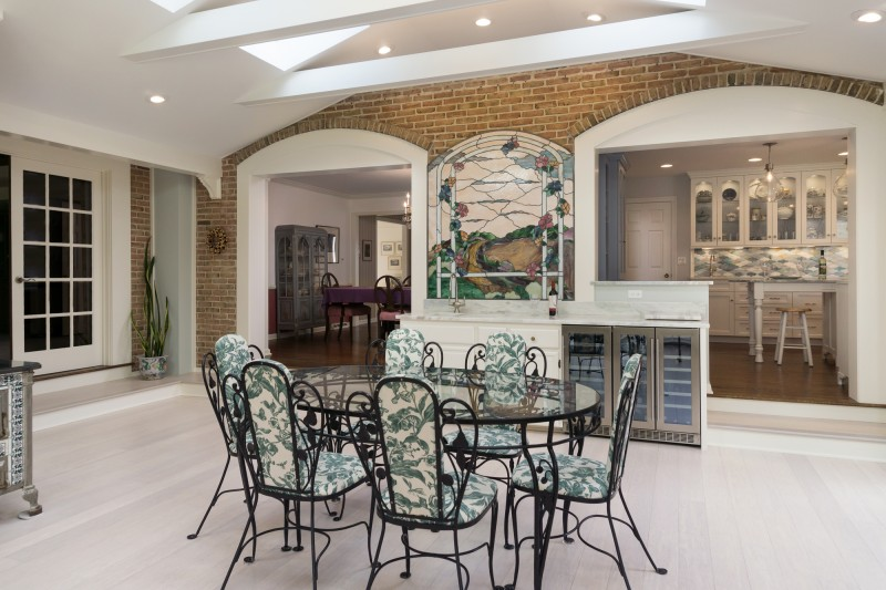 kitchen remodeling ideas: sunroom with beverage center photo