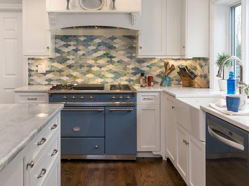 white kitchen with colorful tile backsplash