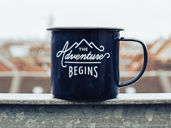Black mug with encouraging phrase for surviving a kitchen remodel